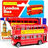 London Red Bus (Small) - Double Decker Red Bus Model Made of Die Cast Metal and Plastic Parts by TB