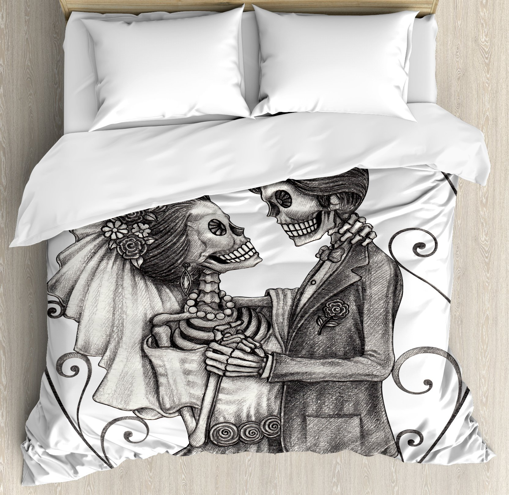 Ambesonne Day Of The Dead Decor Duvet Cover Set, Love Valentine's Skull Skeleton Marriage Eternal Spanish Festive Art, 3 Piece Bedding Set with Pillow Shams, King Size, Dimgrey and White