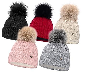 2471ecdc7dee44 HEYO Damen Wintermütze mit Fleece Innenband H18527 | Slouch Beanie Winter  Mütze | Warme Strickmütze mit Bommel | Bommelmütze in Verschiedenen ...