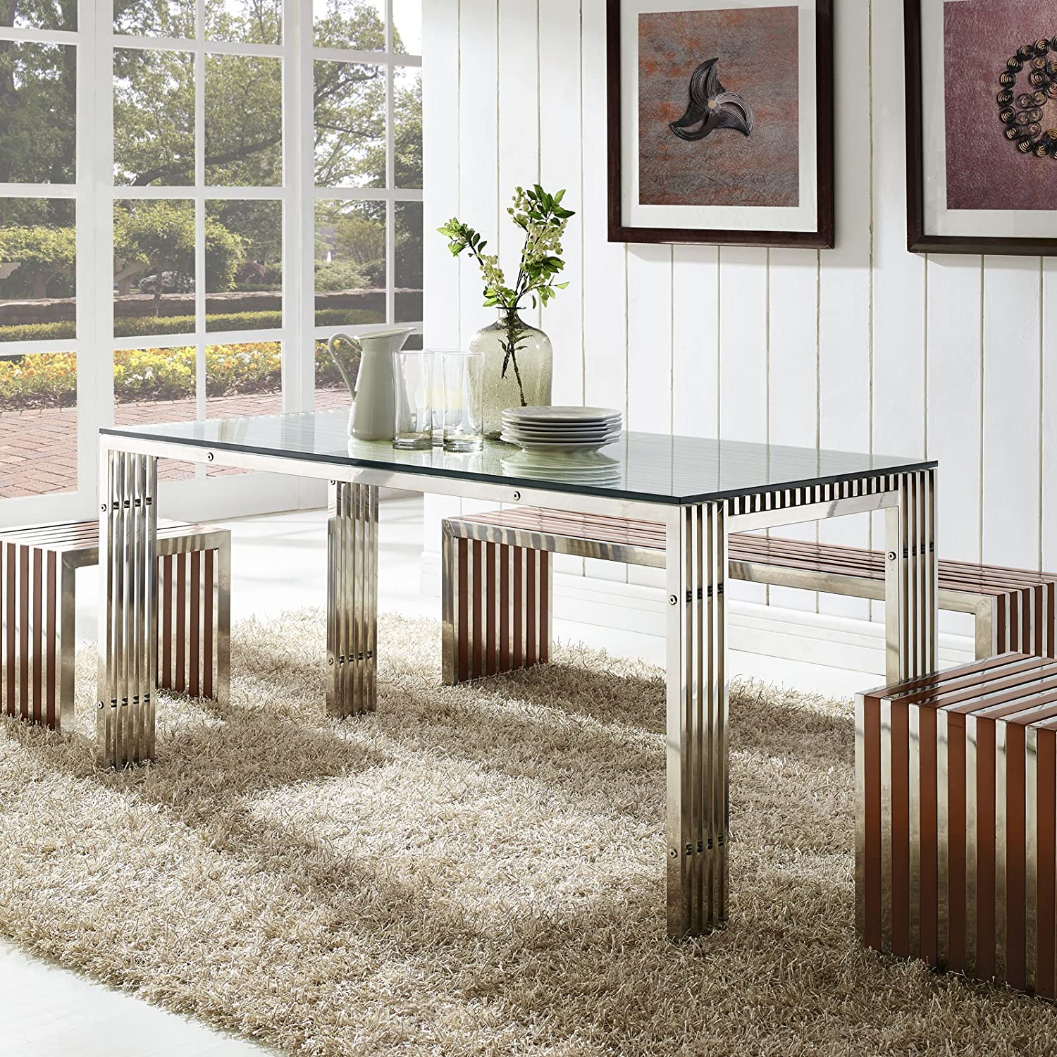 Amazon.com: Modway Gridiron Stainless Steel Dining Table In Silver: Kitchen  U0026 Dining Part 44