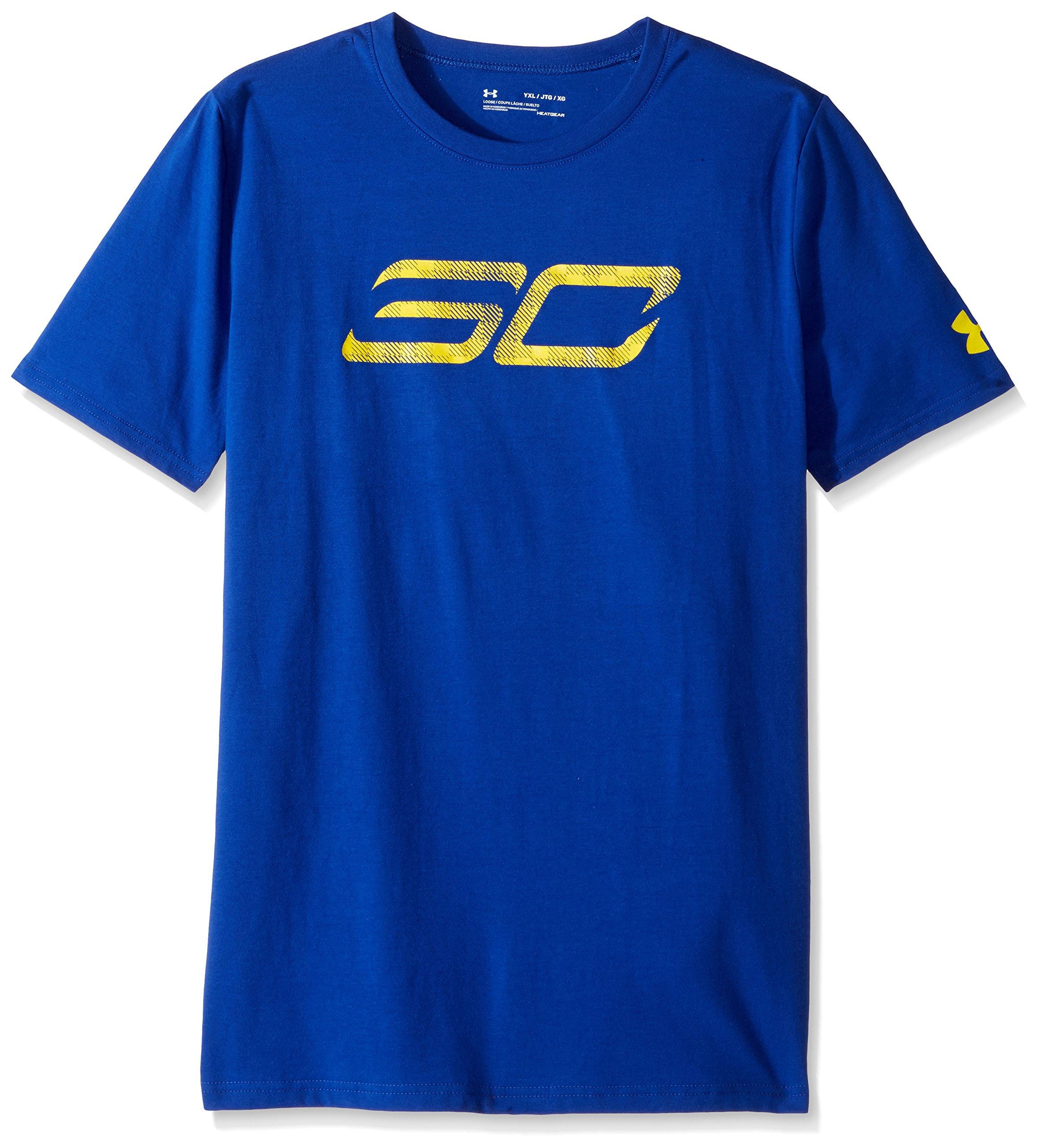 Under Armour Boys' SC30 Logo T-Shirt,Royal (400)/Taxi, Youth X-Small