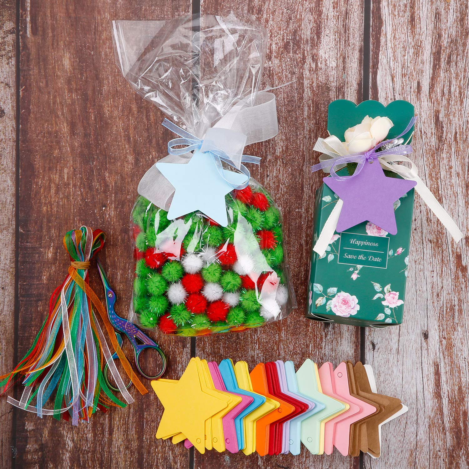 240 Pieces Gift Tags 20 Colors Style B Kraft Paper Tags Craft Hanging Tags Wishing Tree Tags Name Place Cards Price Tags Labels Treats Tags Scrapbook Cards with Hole