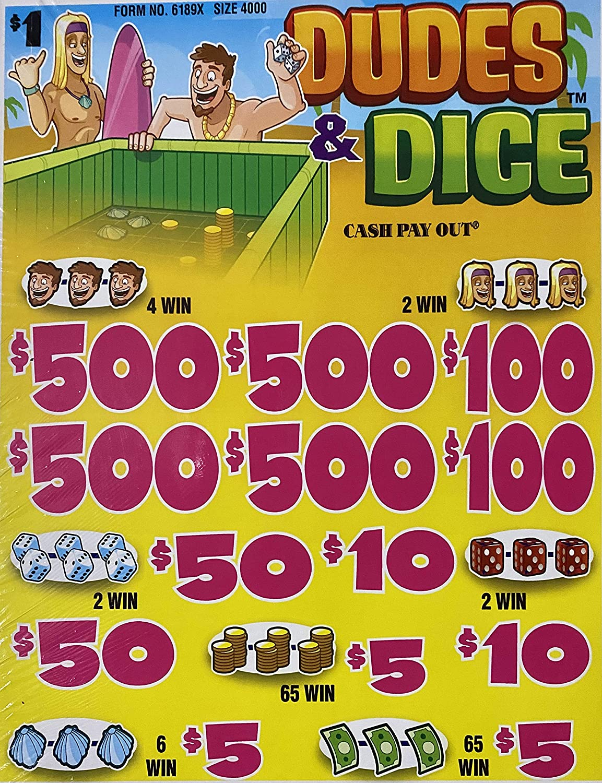 $1 Dudes /& Dice Instant Bingo Pull Tabs Instant Winners $500