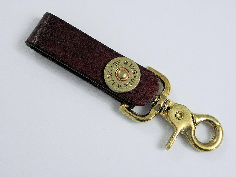 Genuine Leather Lanyard Key Chain Keeper with 12 Gauge Shotgun Shell Snap~Brown