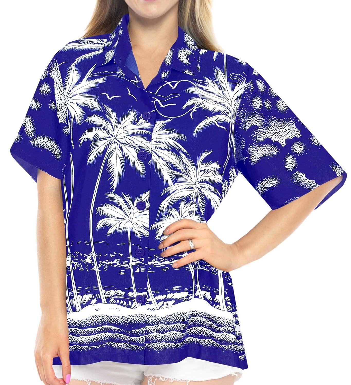 Hawaii-Hemd Blusen-Taste nach Oben Strand tragen Frauen mit kurzen Ärmeln Badeanzug schwarz