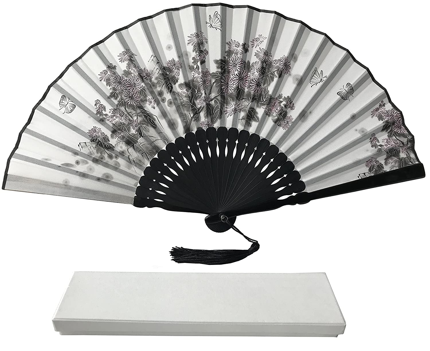 Ink Art Handheld Fan with a Box and a Pouch for Women Men Girls Black and White with Silver Touch UP Durable Folding Top Grade Bamboo Ribs Satin Fabric Ink Hand Fan (Dragonflies IA03) Rangebow
