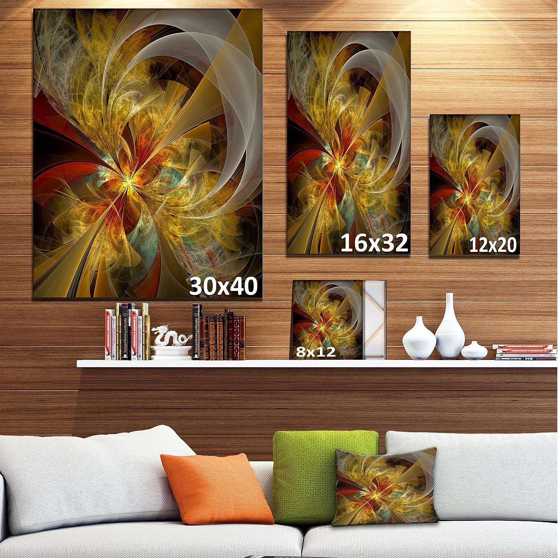 Design Art PT12034-20-40 Bright Yellow Symmetrical Flower Design Modern Floral Canvas Wall Art 20x40 Black