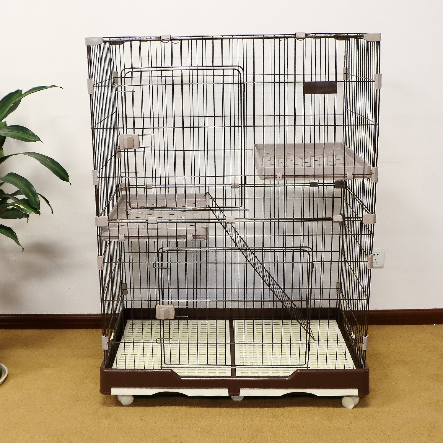"""PANEY 52"""" H Folding Cat Home 3 Level Cat Cage 2-Door Collapsible Pet Wire Crate Cat Playpen w/ Rest Benches Ladder & Tray"""