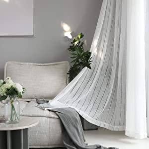 "Home Brilliant Striped Sheer Curtains White Voile Window Treatment Living Room Bedroom Curtains, 2 Panels, 54"" x 84 inch Length"