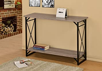 Weathered Sonoma Oak Finish 3 Tier Metal X Design Occasional Console Sofa Table  Bookshelf