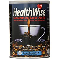 HealthWise Low Acid Swiss Water Decaffeinated Coffee, 100% Colombian Decaf Supremo, 12 Ounce