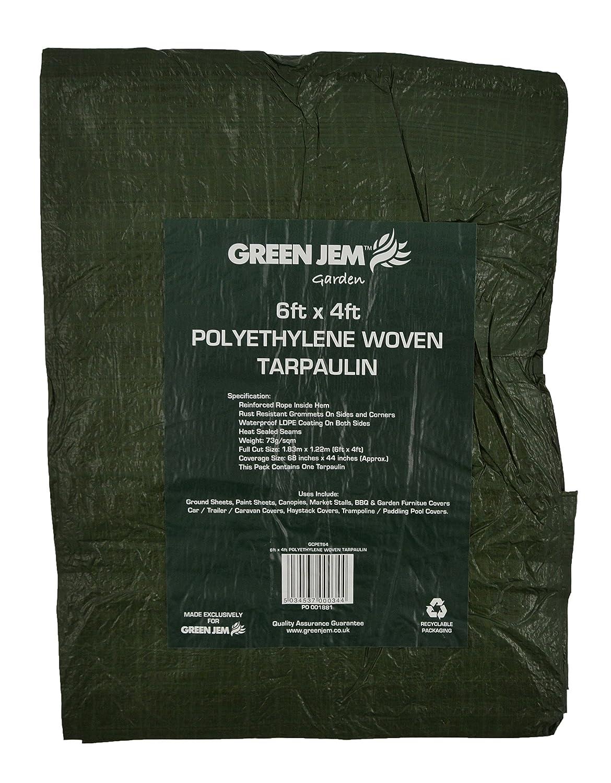 8ft x 12ft Polyethylene Woven Tarpaulin Green Heavy Duty 2.7m x 3.5m