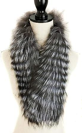 Women Real Fox Fur Collar Long Scarf Shawl Stole Wrap Neck Warmer