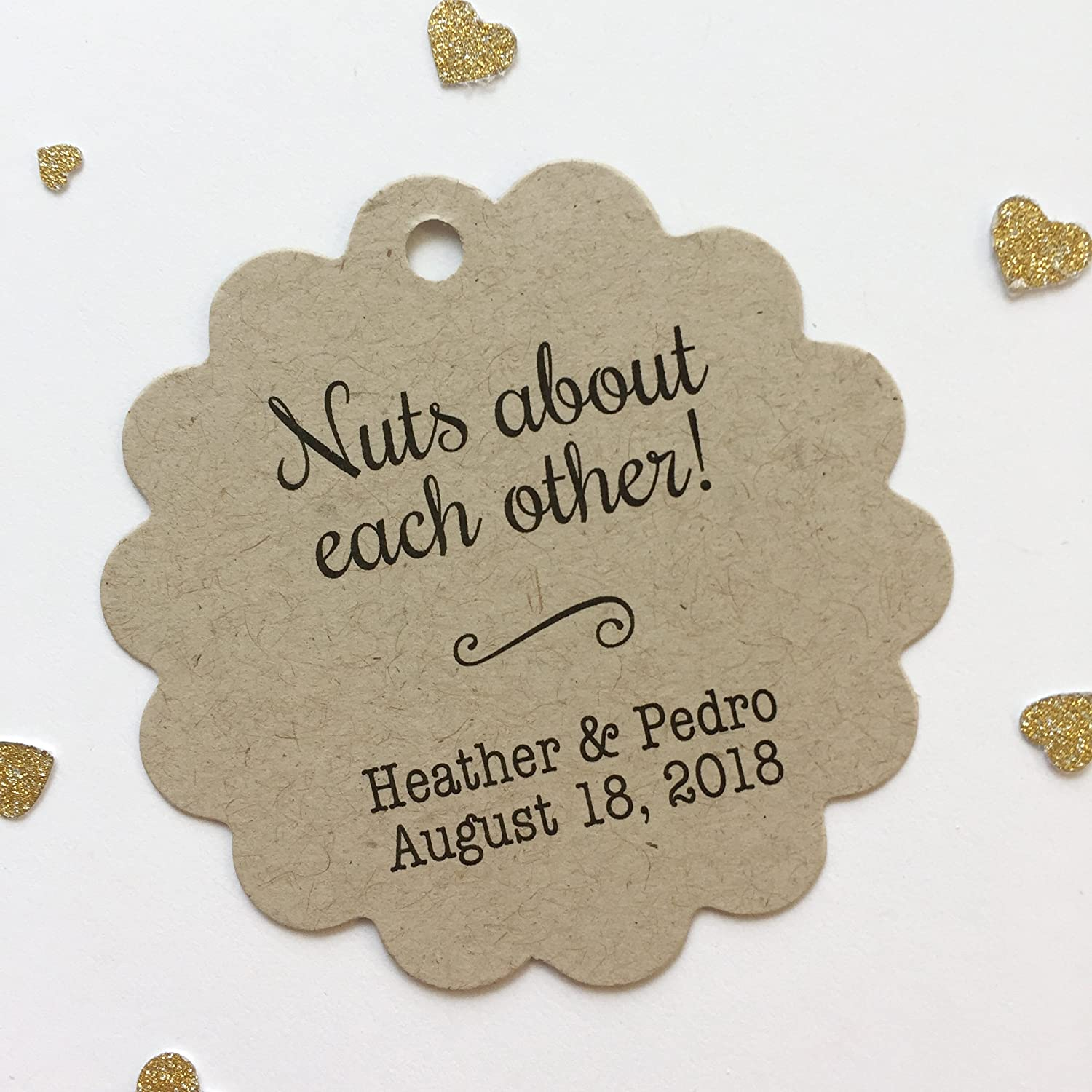 Almond Wedding Favor Tags Nuts About Each Other Kraft Tags SC-020-KR Nuts Wedding Favor Tags