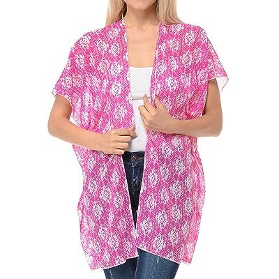 BASICO Women's Open Asymmetrical Hem Print Chiffon Vest Cardigan at Women's Clothing store