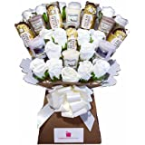 Yankee Collection Scented Candle, Silk Ivory Roses & Ferrero Rocher Chocolate Bouquet Gift Set