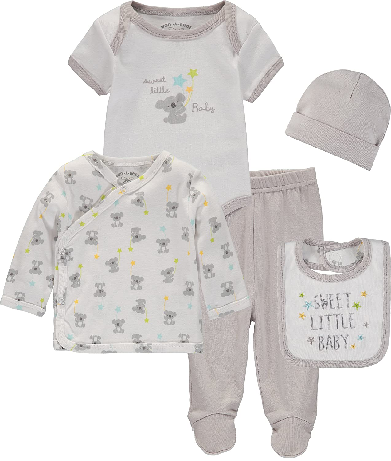 Wan-A-Beez Baby Boys and Baby Girls 5 Piece Take Me Home Layette Gift Set for Newborns