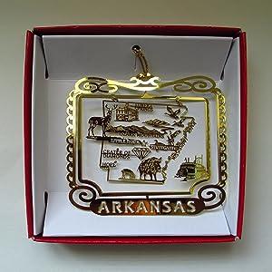 Arkansas State Brass Christmas Ornament Souvenir Gift