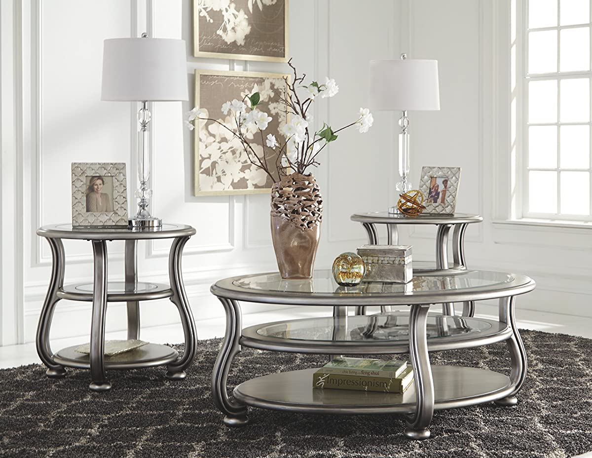 Ashley Furniture Signature Design - Coralayne Coffee Table - Stylish Occasional Cocktail Table - Silver Finish