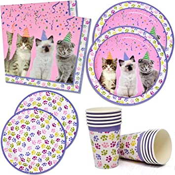 Amazon Com Kitten Party Supplies Set 24 9 Paper Plates 24 7 Plate 24 9 Oz Cups 50 Luncheon Napkins Kitty Birthday Decorations Paw Cat Girl Kids Themed Disposable Tableware Party Favor Good