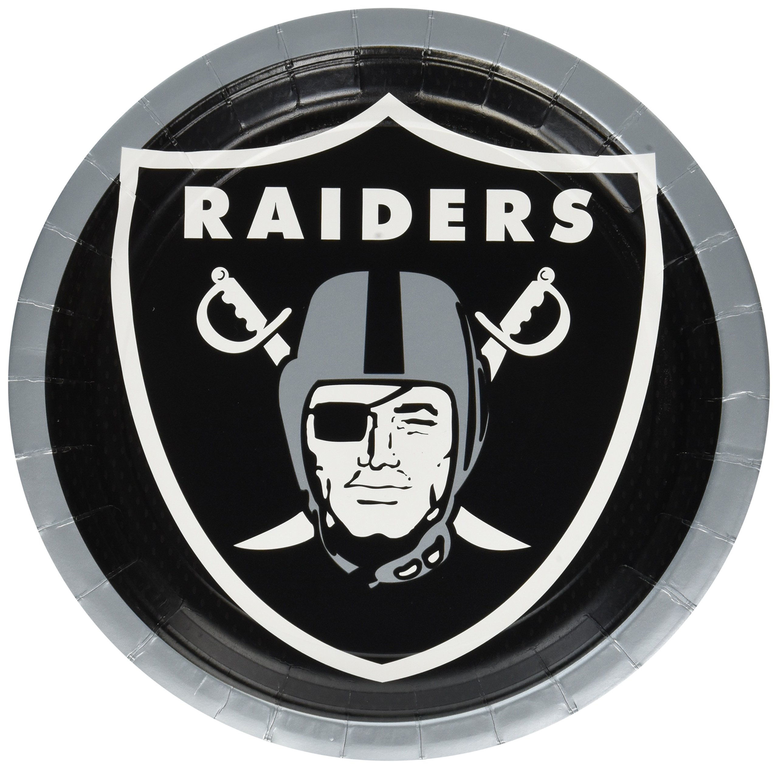 Amscan ''Oakland Raiders Collection'' 9'' Round, Party Plates, 48 Ct.