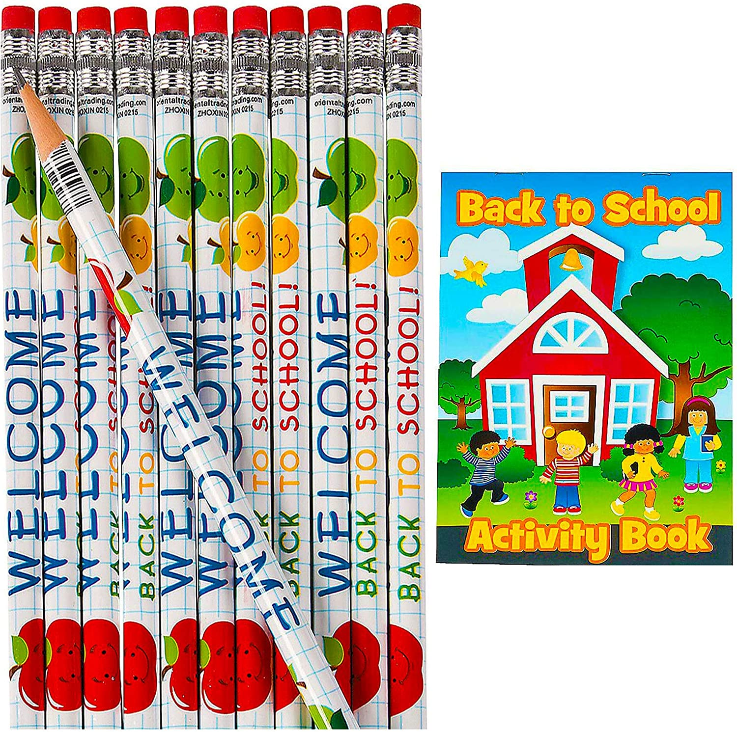 Welcome Back to School Pencils With Activity Books 24 Pcs of Each Teachers Classroom Supplies by 4Es Novelty 24 Set For First Day of School Gift