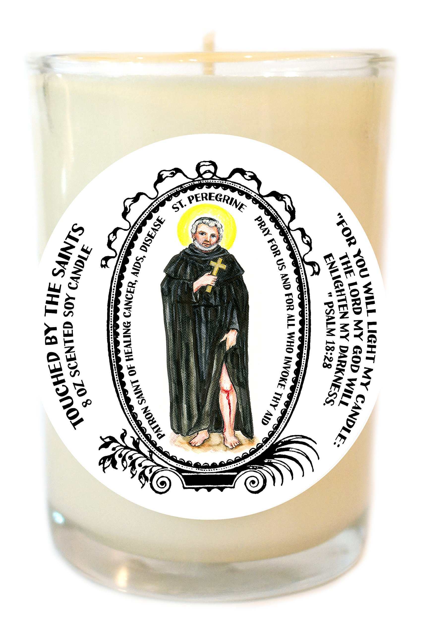 Saint Peregrine of Healing Disease 8 Oz Scented Soy Glass Prayer Candle