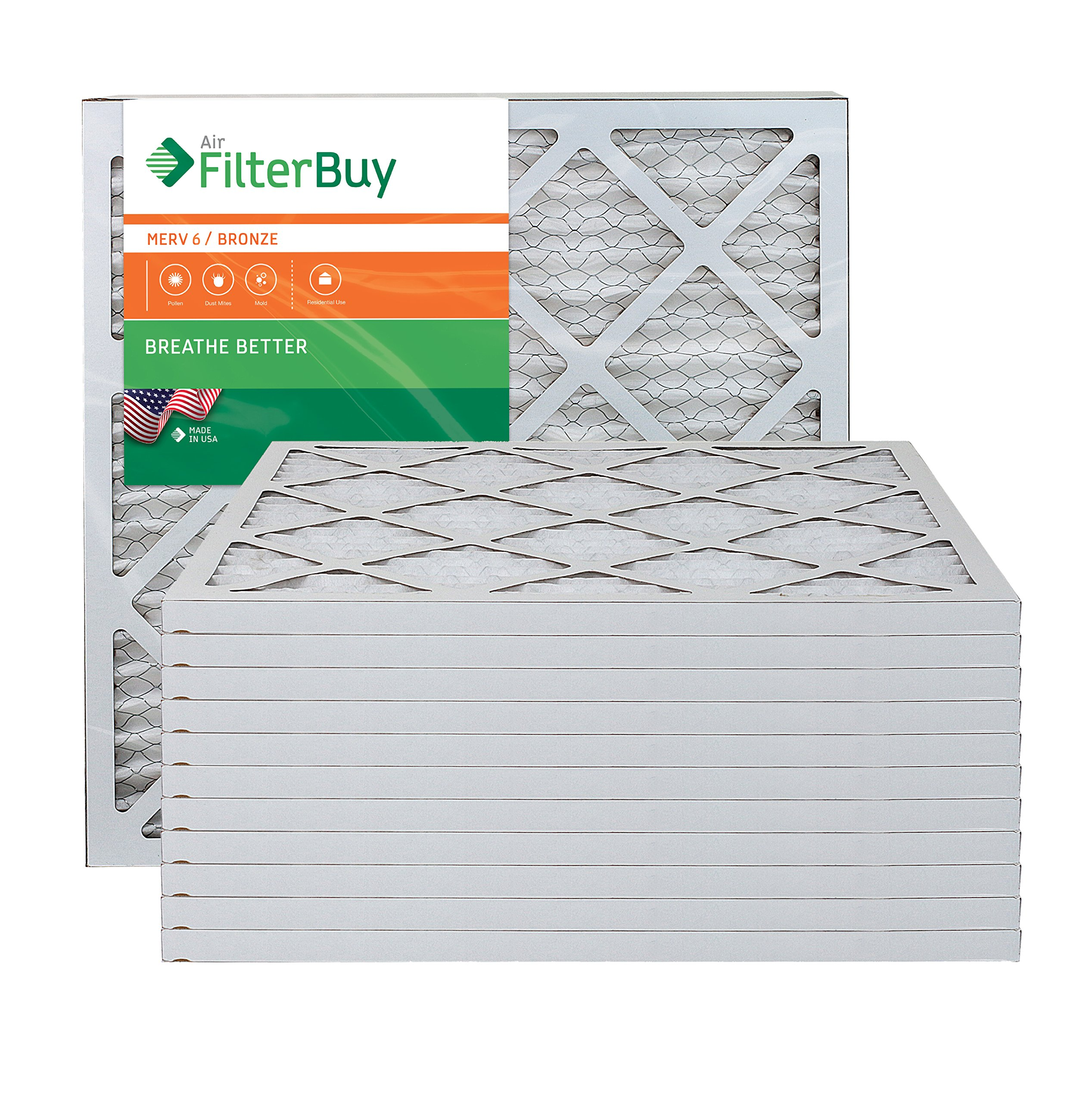 AFB Bronze MERV 6 21x22x1 Pleated AC Furnace Air Filter. Pack of 12 Filters. 100% produced in the USA.