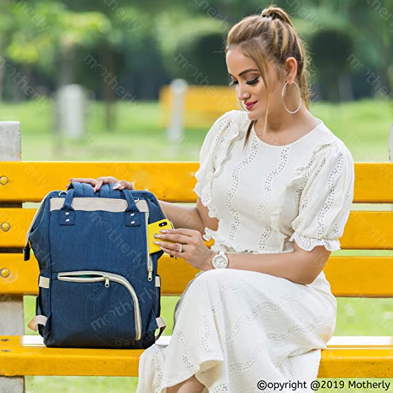 Motherly Stylish Babies Diaper Bags for Mothers - Premium Version (Navy Blue)