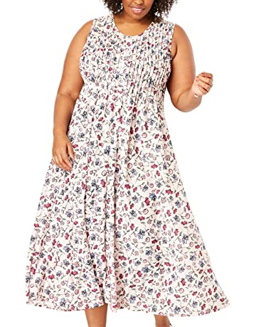 e024e057b81 Woman Within Women's Plus Size Pintucked Floral Sleeveless Dress