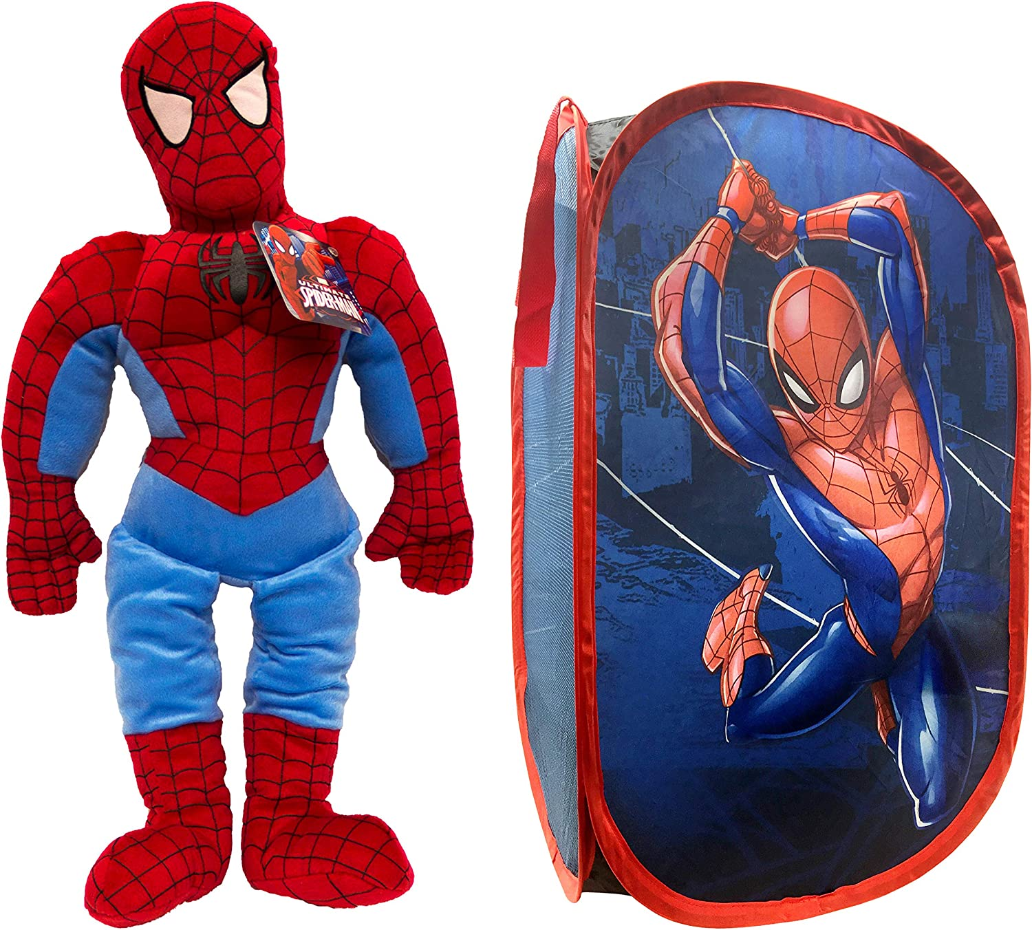Jay Franco Marvel Spiderman Pillow Buddy and Pop Up Hamper Bundle