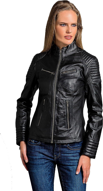 Urban Leather Corto Biker - Chaqueta de piel, Mujer, negro, medium