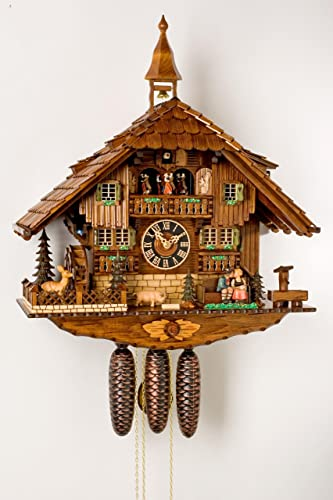 German Cuckoo Clock 8-day-movement Chalet-Style 23.00 inch – Authentic black forest cuckoo clock by H nes