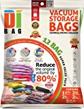 DIBAG ® 12 Space Saver Vacuum Storage Bags - Premium Travel Space Bags - 1 Jumbo + 2 XXL + 2 XL + 2 L + 5 Roll-Up Bags - Double Sealed Compression Plastic Bags For Clothing Storage, Bedding & Packing