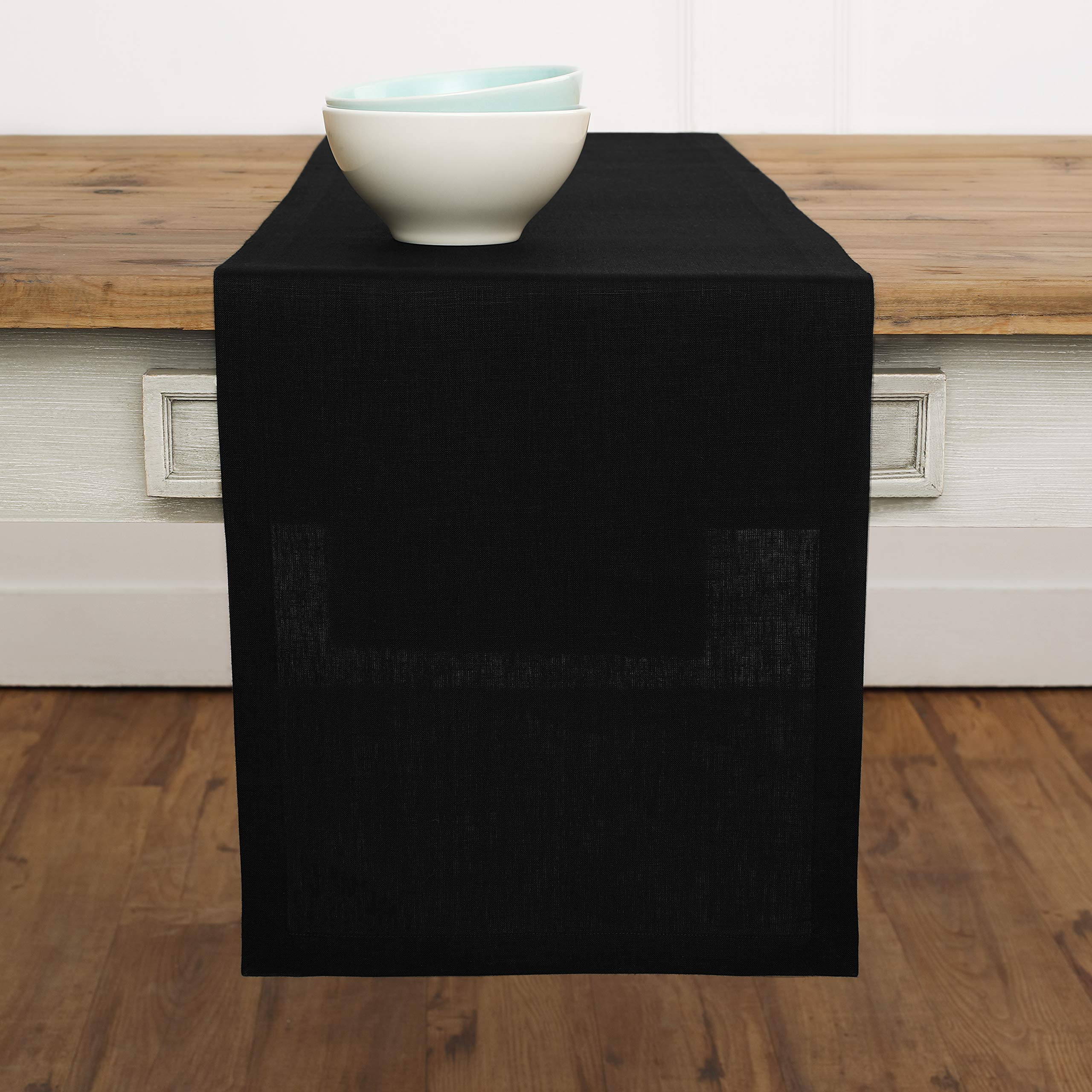 Solino Home Linen Table Runner - 14 x 72 Inch, Crafted from 100% Pure European Flax - Black, Athena