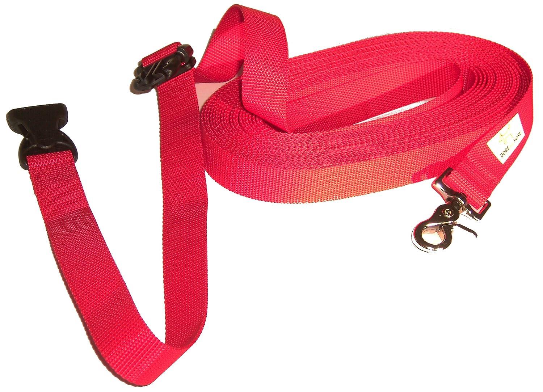 DOGS and MORE /Correa de perro EXTENSIBLE y con lazo de mano para abrir correa de adiestramiento =  5/Metros en Rojo correa de entrenamiento