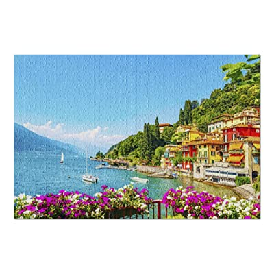 Varenna, Italy - View of Lake Como with Sailboats 9025160 (Premium 1000 Piece Jigsaw Puzzle for Adults, 20x30, Made in USA!): Toys & Games