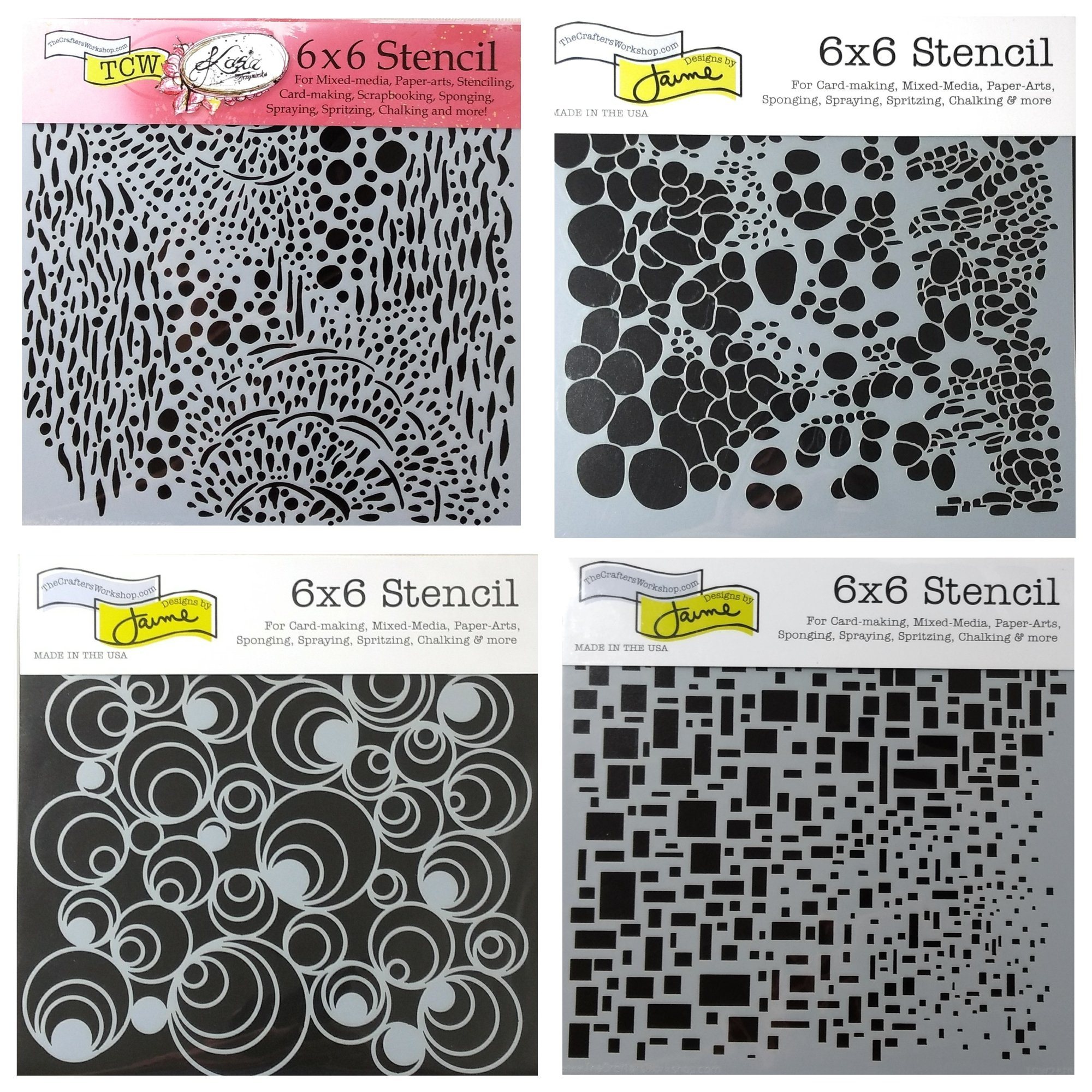 4 Crafters Workshop Mixed Media Stencils Set | for Arts, Card Making, Journaling, Scrapbooking | 6 inch x 6 inch Templates | Cell Theory, Mod Spirals, Cubist, Sea Bubbles by CRAFTERS WORKSHOP