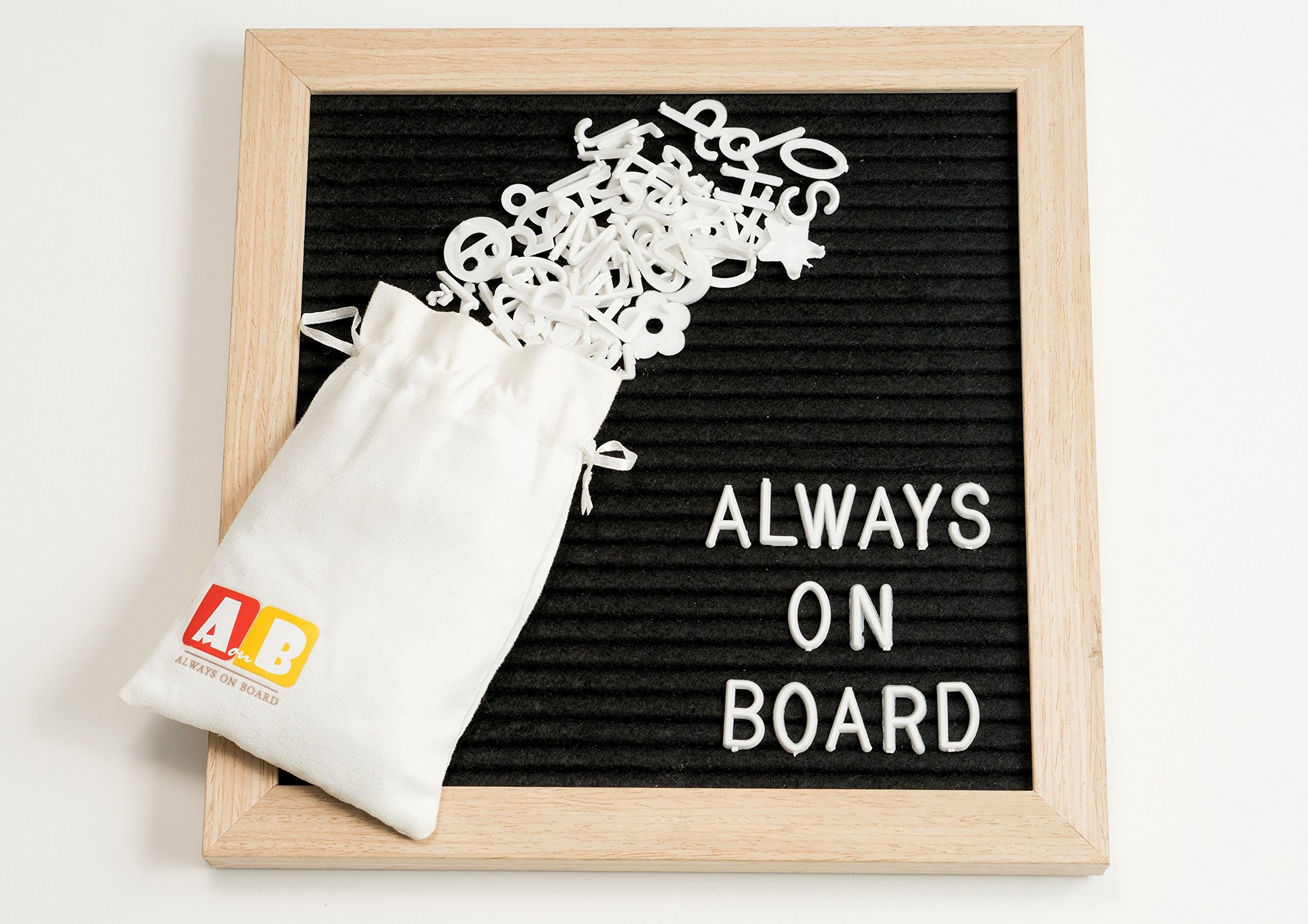 Felt Letter Board By Always On Board-10x10 Decorative Changeable Wood Frame Letterboard With 340 Characters,Numbers & Symbols-Storage Bag & Wood Stand Display Included-Write Messages,Notes...