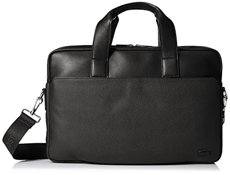 Amazon.com: Lacoste Men's Rafael Leather Computer Bag, Black: Clothing