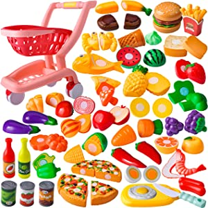 JOYIN Grocery Store Kitchen Cooking Pretend Play Shopping Cart Play Food Toy Playset for Kids Including Cutting Food and Play Kitchen Accessories