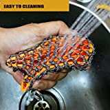Original dounble design cast iron cleaner with good grips, faster Chainmail Scrubber for lodge cast iron skillet,cookware,pans,counters, sinks- oil free,pan Scraper for Home and Camping