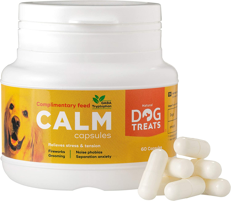 Natural Dog Treats Calmantes para Perros y Gatos, Veterinario Aprobado, Relajante para Estrés, Ansiedad por Separación, Viajes y Ruidos Fuertes, 60 Cápsulas