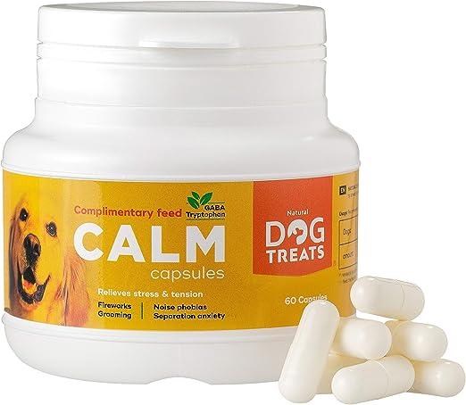 Natural Dog Treats Calmantes para Perros y Gatos, Veterinario Aprobado, Relajante para Estrés, Ansiedad por Separación, Viajes y Ruidos Fuertes, 60 Cápsulas: Amazon.es: Productos para mascotas