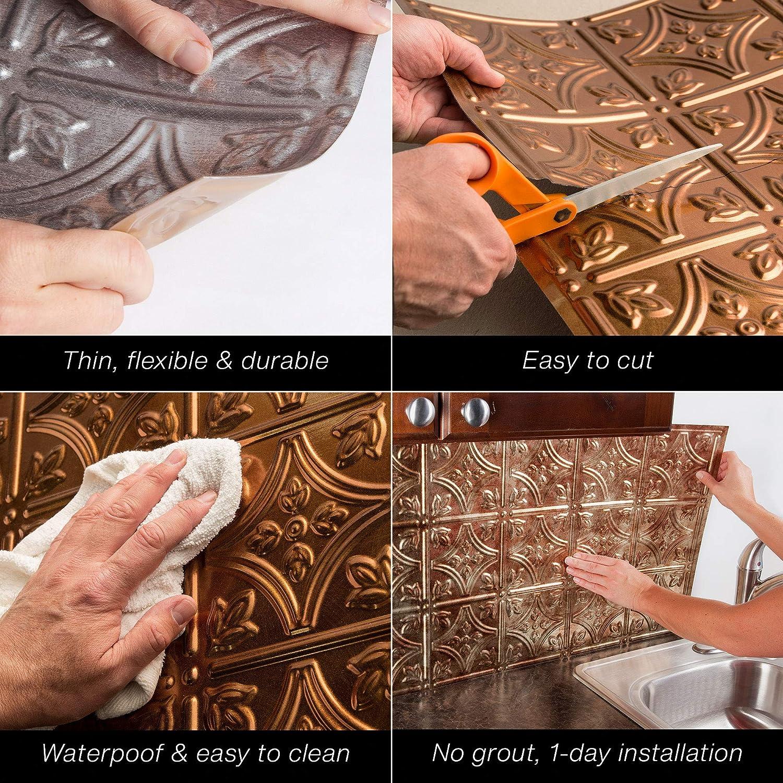 FAS/ÄDE Waves Decorative Vinyl Backsplash 18 sq ft Kit in Antique Bronze