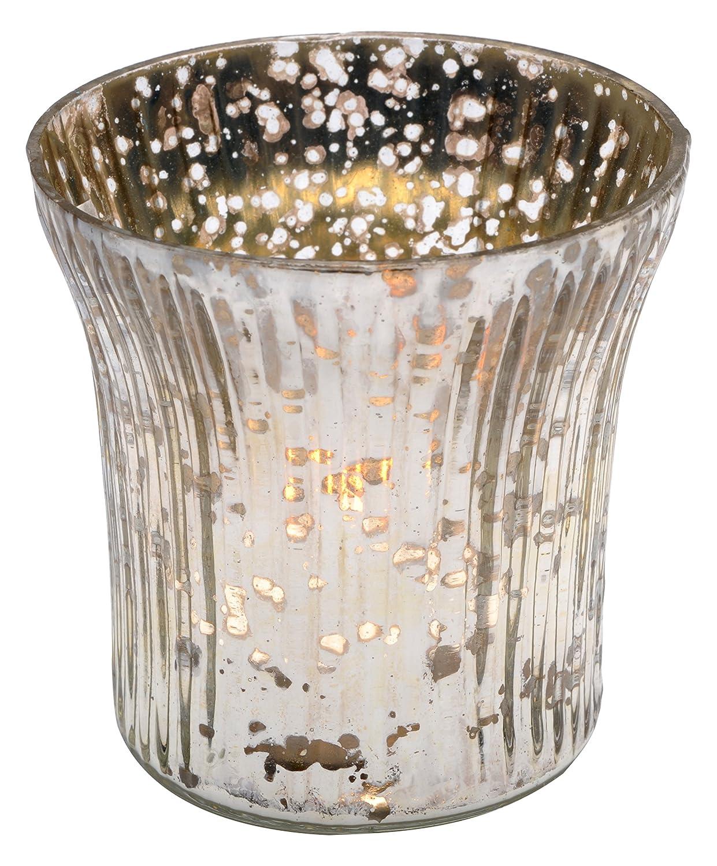 Insideretail TLA05MM72 Mercury Glas Hochzeit Teelichthalter mit Distressed Silberfolie, Set von 72, Silber, 6,5 x 6,5 x 6,5 cm