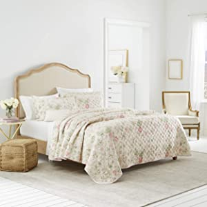 Laura Ashley Home   Breezy Floral Collection   Luxury Premium Ultra Soft Quilt Coverlet, Comfortable 2 Piece Bedding Set, All Season Stylish Bedspread, Twin, Pink Green