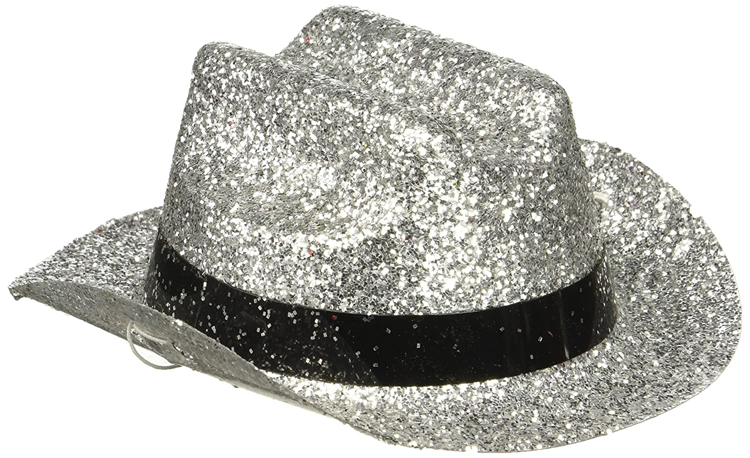 Amazon.com  Amscan 399314.18 Silver Glitter Mini Cowboy Hat One Size  Multicolor  Toys   Games a2a5fa93fd0