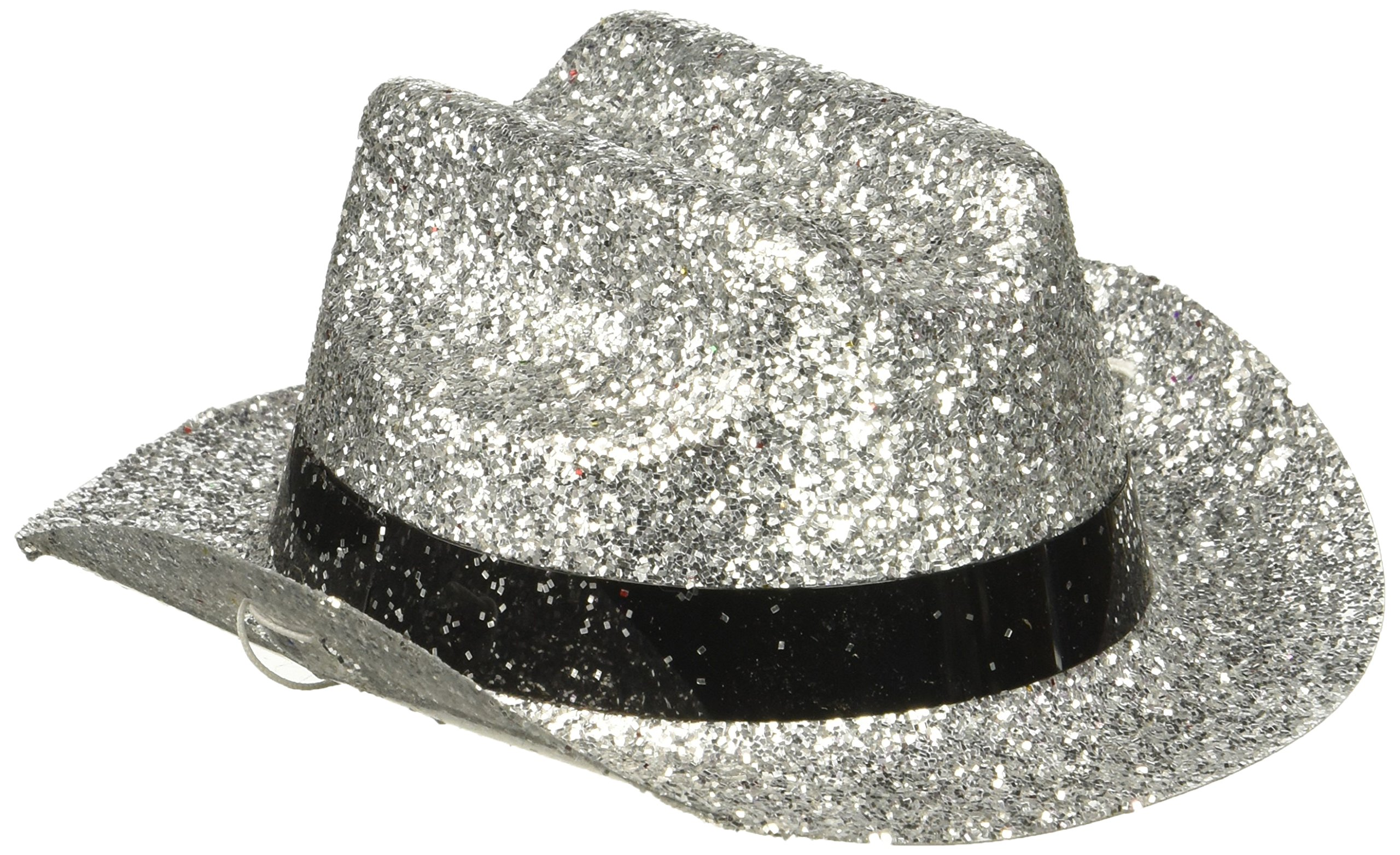 Amscan 399314.18 Silver Glitter Mini Cowboy Hat One Size Multicolor