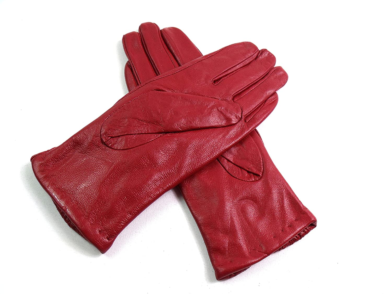The Leather Emporium Womens Lined Gloves Diamond Detail